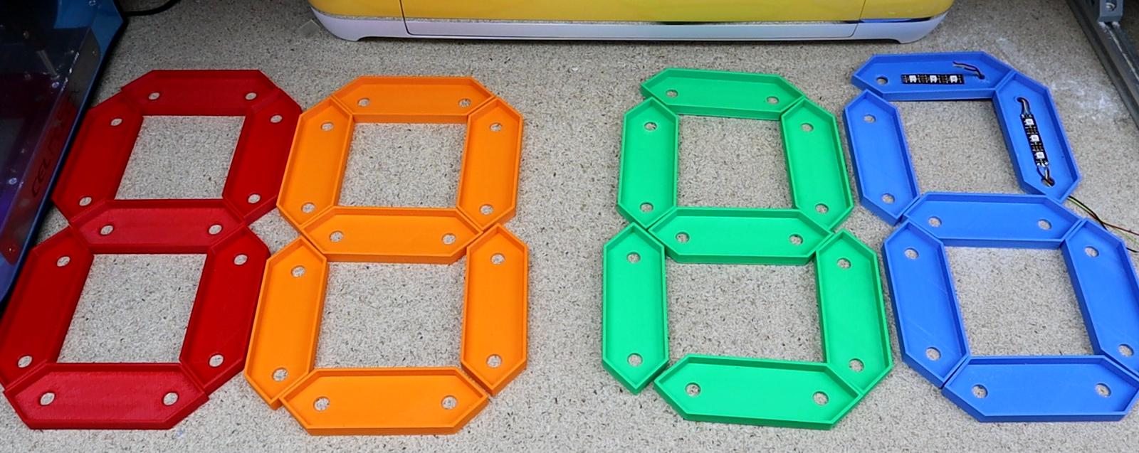 7 segment display RGB LED clock